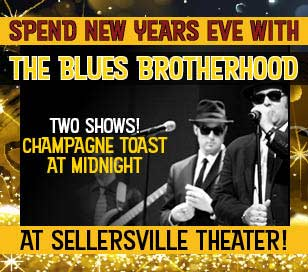 'It's a fun and funky New Year's Eve Party1_b@b_1the Sellersville Theater with the return of The Blues Brotherhood! This tribute to The Blues Brothers will keep us dancing to classic RnB, blues and soul tunes in a style unique to the 'Brotherhood.' Get ready for hits like Soul Man, Rubber Biscuit, Gimmie Some Lovin', Who's Making Love, Expressway to Your Heart and I Can't Turn You Loose. So, hold on to your hats (and shades, for that matter) as the boys capture the sound, energy and persona that propelled the original Blues Brothers into the phenomenon that still thrills audiences around the world. The 10:30 show will include a champagne toast1_b@b_1midnight!' from the web at 'http://buckscountyalive.com/abnrs/images/events/SellersvilleEvent1117.jpg'