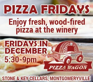 'What goes better with Wine than Pizza. Now, you can find both1_b@b_1Stone & Key Cellars in Montgomeryville every Friday (5:30 pm - 9:00 pm) this December! This is not just any pizza, either. The Pizza Wagon will be onsite pumping out fresh baked wood fired pizzas every Friday night.' from the web at 'http://buckscountyalive.com/abnrs/images/events/pizzawagon.jpg'