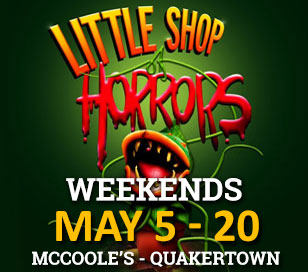 Star of the Day presents LITTLE SHOP OF HORRORS May 5-20, 2017 (weekends) at McCoole?s Arts & Events Place in Quakertown. Meek flower shop assistant Seymour pines for co-worker Audrey. During a total eclipse, he discovers an unusual plant he names Audrey II. The growing plant attracts a great deal of business for the struggling store. Seymour finds himself in a bind finding nourishment for the increasingly bloodthirsty plant.