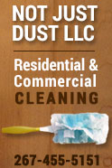 Not Just Dust cleaning service specializes in office, new construction, and house cleaning (including windows). Bringing our own cleaning supplies, we offer weekly & bi-weekly cleaning, as well as one time cleans. Not Just Dust is a mother and daughter team, that is licensed and insured. We will be happy to come out and give you a free estimate. Not Just Dust will take care of all your cleaning needs at an affordable price!