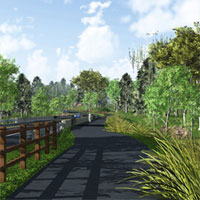 This shared-use trail runs along the entire nine-mile length of the Route 202 Parkway, providing a non-motorized transportation and recreational facility for walkers, runners, skaters and cyclists. This new trail enhances the region's pedestrian and cycling network by connecting the large and growing system of trails in Montgomery and Bucks counties. The 202 Parkway Trail has access points (with parking) at Knapp Road, Route 309, Stump Road near County Line Road, Bristol Road, and New Britain Road.