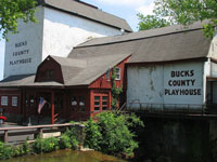 The Bucks County Playhouse opened in 1939 on the site of a grist mill dating from the late eighteenth. Ironically, the structure was at that time in danger of demolition, however playwright Moss Hart and the local community rallied to save the building and re-opened it as a theatrical venue. In continuous operation ever since, a veritable who's who of American theatrical royalty has trod its boards, including Kim Hunter, Helen Hayes, Kitty Carlisle, Colleen Dewhurst, Shirley Booth, Lillian Gish, June Lockhart, Grace Kelly, Robert Redford, Bert Lahr, Leslie Nielsen and Walter Matthau.