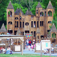 This impressive 8-story structure was the result of a volunteer community effort to build a wonderland of swings, slides, a rocket ship, climbing and hiding places, and a great place for kids to spend a summer afternoon. It is located within Central Park at 425 Wells Road in Doylestown Township, just outside of town. It is open 7 days a week, sunrise to sunset, and admission is free. The park is open year-round though the castle closes after the first freeze. 