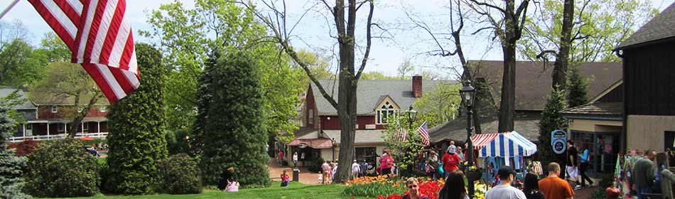 Peddler's Village is a 42-acre, outdoor shopping mall  featuring 65 retail shops and merchants, 3 restaurants, a 71 room hotel and a Family Entertainment Center. in the Plumstead Township, Bucks County PA area